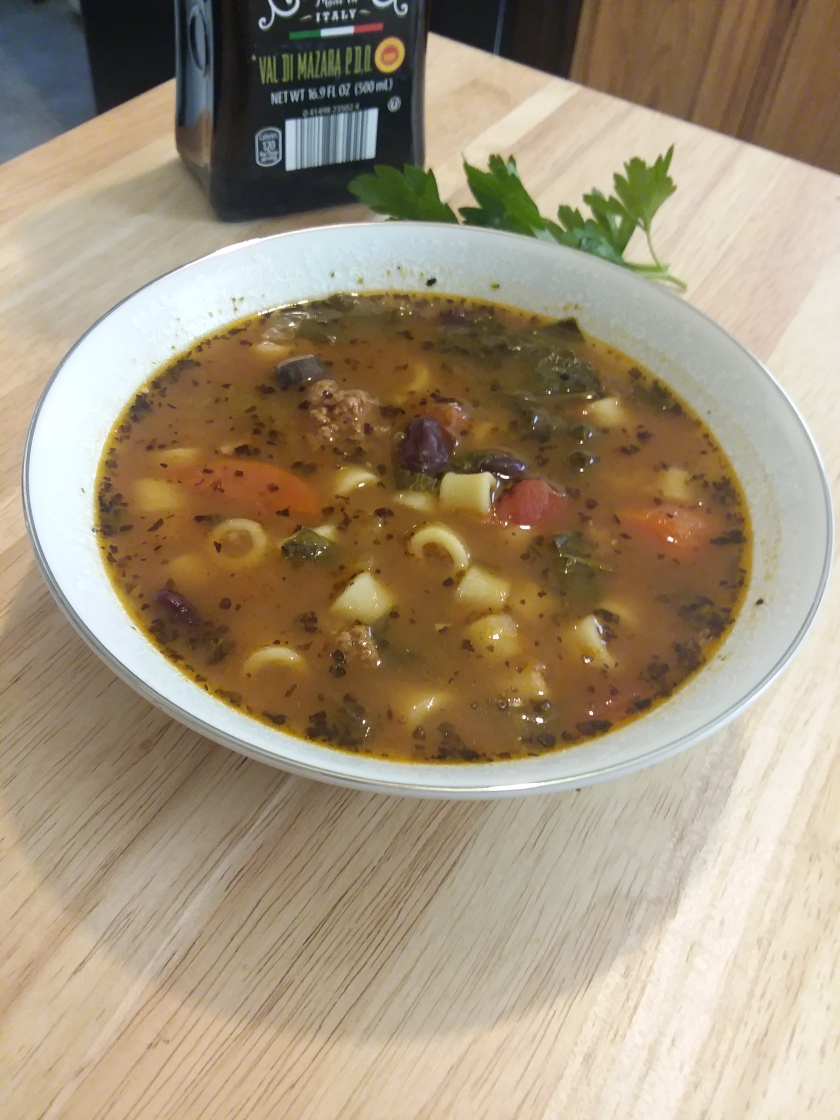 Minestrone soup with Italian Chicken Sausage